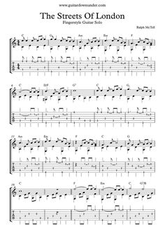 Streets Of London by Ralph McTell for fingerstyle guitar solo.
