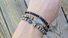 Labradorite and Pyrite Gemstone Boho Stretch Bracelet / Stacking Beaded Bracelet