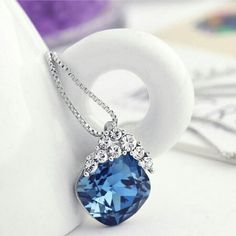 Swaroviski element Crystal necklace with rhineston This necklace is absolutely gorgeous! The blue is enchanting!  The chain is platinum plated allot.  It comes in a beautiful gift box. Jewelry Necklaces