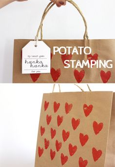 Potato stamped valentines bag, gift bag or birthday wrapping. Easy DIY project. Fable Lane