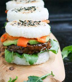 Vegan sushi burgers! Teriyaki glazed adzuki bean patty, avocado, and pickled carrots between panfried rice buns. | by Maikin mokomin