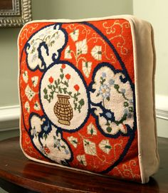 vintage chinoiserie needlepoint red blue pillow 14 by adhocdecor, $49.00