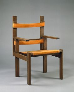 Marcel Breuer (American (born Hungary) 1902–1981) This chair was conceived during Breuer's first years at the Bauhaus, Weimar, and the remarkable design marks the first time he used a cantilevered frame. The profound influence of the Dutch architect and designer Gerrit Rietveld is seen in its articulated and highly abstract De Stijl–like sculptural composition