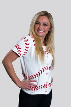 You'll be a hot baseball wife, or fan, in a Ballpark Sweater. http://ballparksweaters.com $60.