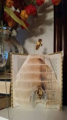 Bee Hive with Bees Folded Book Art - Book Sculpture - Paper Art - Book Origami…