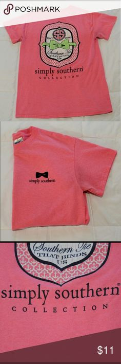 Simply Southern Pink tee Simply Southern tee in great condition! Simply Southern Tops Tees - Short Sleeve