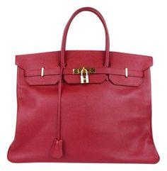 Hermes Birkin 40cm Leather W Platinum Hardware Red Bag - Satchel $11,400
