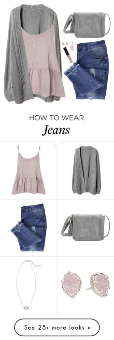 """Peplum tank, loose cardigan & ripped jeans"" by steffiestaffie on Polyvore featuring Essie, Topshop, GALA, NYX and Kendra Scott"