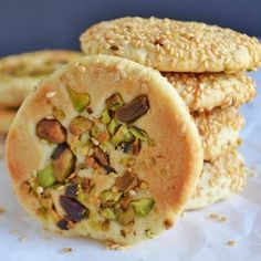 Barazek cookies are wonderful sesame and pistachio cookies. Start your holiday baking with these easy to make nutty and not too sweet cookies. Eid Biscuit Recipes, Cake Mix Cookie Recipes, Snack Recipes, Eid Recipes, Arabic Recipes, Snacks, Dessert Recipes, Lebanese Desserts, Lebanese Recipes