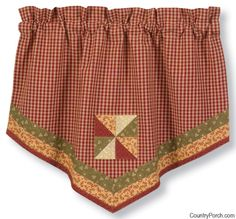 The Country Porch features Mill Village lined single point curtain valances from Park Designs. Red Gingham, Gingham Check, Home Curtains, Valance Curtains, Kitchen Window Treatments, Home Kitchens, Cotton Fabric, Curtain Ideas, Primitive