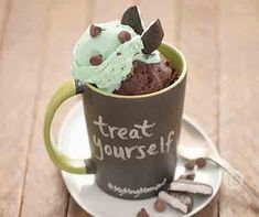 Chocolate Peppermint Patty Mug Cake Recipe │Instant dessert? Indulge in this sweet chocolate fudge cake topped with chocolate mint ice cream and chocolate chips.