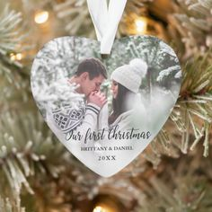 Our First Christmas Couple Photo Heart Ornament Funny Christmas Cards, Christmas Card Holders, Holiday Cards, Holiday Decor, Christmas Couple, First Christmas, Christmas Holiday, Christmas Crafts, Photo Christmas Ornaments
