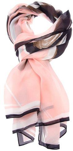 Fendi Pink Printed Silk Scarf