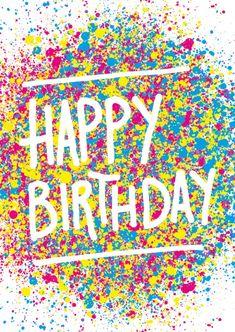 Happy Birthday Grusskarte mit farbenfrohen Spritzern