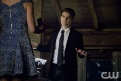 """Vampire Diaries -- """"I'll Wed You in The Golden Summertime"""" -- Image Number: VD621b_099.jpg -- Pictured (L-R): Candice Accola as Caroline and Paul Wesley as Stefan -- Photo: Bob Mahoney/The CW -- © 2015 The CW Network, LLC. All rights reserved."""