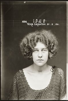 """Mug shot of Vera Crichton, 21 February 1924, probably Central Police Station, Sydney.    Vera Crichton, 23, and Nancy Cowman, 19, are listed in the NSW Police Gazette 24 March 1924 as charged, along with three others, with """"conspiring together to procure a miscarriage"""" on a third woman. Crichton was """"bound over to appear for sentence if called upon within three years""""."""
