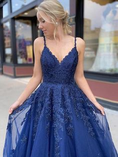 May 2020 - Description: satin,pongee time: prior shipping within 15 days, normal delivery time is about 25 days from Jan.~May, 20 days from June ~ Dec. dresses are made after orders, we don't accept refund for custom order(custom size) because we coul Blue Lace Prom Dress, Pretty Prom Dresses, Hoco Dresses, Dance Dresses, Ball Dresses, Homecoming Dresses, Beautiful Dresses, Ball Gowns, Formal Dresses