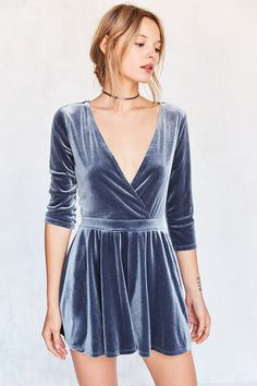 Silence + Noise Navy Velvet Carnation Surplice Playsuit
