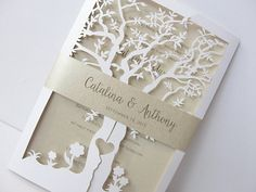Fall Wedding Invitation Laser Cut Tree Wedding di LavenderPaperie1