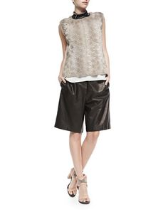 Perforated Flower Mink Fur Top, Layered Silk Crepe Tank, Choker & Elongated Pull-On Leather Shorts by Brunello Cucinelli at Neiman Marcus.