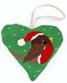 Christmas Robin Heart Tapestry (Buy 2 for £27)