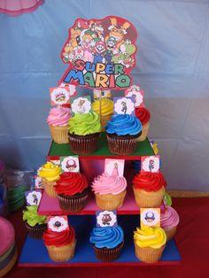 Cupcakes at a Super Mario Bros. Party #supermario #cupcakes