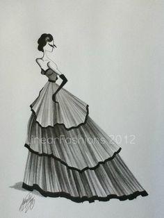 Fashion Illustration Art Original Sketch 1950s by LinearFashions, $42.00