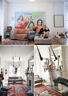 flying trapeze in the living room of oeuf founder sophie demenge's brooklyn home