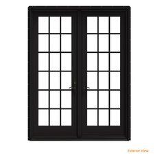 Verona Home Design External Grilles Primed Fiberglass Prehung Front Entry Doors Door Orientation: Left Hand/Inswing, Door Size: H x W x French Doors Patio, Patio Doors, Entry Doors, French Patio, Black French Doors, Double Front Doors, Front Entry, Interior Paint, Interior And Exterior