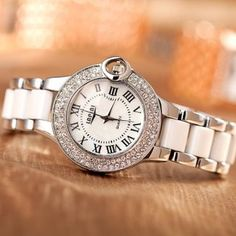 Classical Analog Diamond Inlayed Dial Strap Watch for Lady: USD $18.17