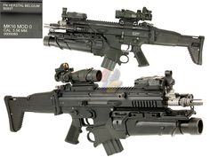 SCAR-Ls with reflex sights on top of ACOGs (I think) with FN EGLM grenade launchers. These might be Airsoft. Airsoft Guns, Weapons Guns, Tactical Rifles, Firearms, Armored Truck, Battle Rifle, Long Rifle, Concept Weapons, Cool Guns