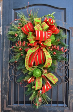 Christmas Swag Red and Apple Green Merry Christmas by DoorBling, $135.00