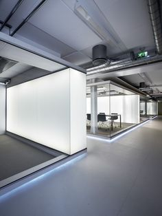 Thick light box conference room walls.
