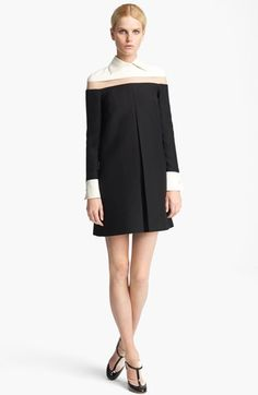 Valentino Contrast Yoke Wool & Silk Dress available at #Nordstrom