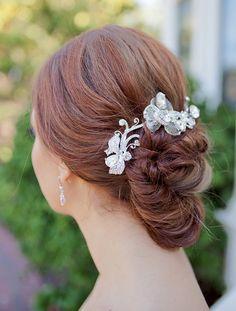 Sparkling Swirl Rhinestone Hair Clip by One World Designs Bridal Jewelry