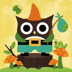74B Bright Owl Gnome 6x6 Print by leearthaus on Etsy, $15.00