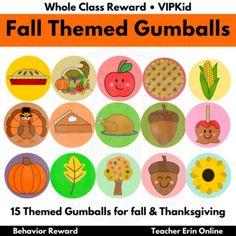 Gumball Machine Reward FALL THEMED   Bubble Gum   Whole Class, Student, VIPKid