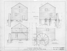 Elevations and cross section, Ramsaur Mill, Gaston County, North Carolina Gaston County, Architect Drawing, Thing 1, Mechanical Design, Architecture Drawings, North Carolina, How To Plan, Grinding, View Source