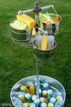 The perfect station for outdoor parties. Why havent i thought of this?!!