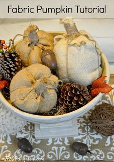 Easy step by step tutorial to make no sew fabric pumpkins. Stunning in burlap…