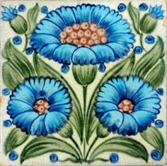 Fulham period tile, Daisies appeared on many of De Morgan's floral tiles, this is an attractive rendering. Victorian Fireplace Tiles, Norwich Castle, Bedford Park, Daisy, Arts And Crafts Movement, William Morris, Carving, Floral, Fulham