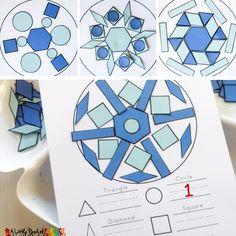 Построить Snowflake Winter Shape Math активность и свободной печати: Дети могут сделать красивые снежинки, как они учатся и ремесло с формами.  Бесплатно для печати включает в себя строить и рассчитывать коврики, формы и Tangrams.  (Дошкольного, детский сад, первый класс, ПАР активность)
