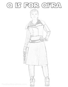 Q is for Qi'ra Alphabet Coloring Page from Solo: A Star Wars Story