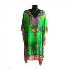 Indian Tribal Print Embellished Kaftan Dress Green by Jywal
