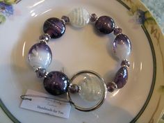 Handmade For You Hands-Free Beaded Bracelet KeyChain Keyring Royal Purple Swirl White Lampwork Bead Silver Stretch Cord Fits Many Sizes K97 by JewelsHandmadeForYou on Etsy