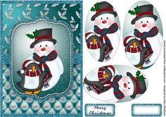 Snowman and Penguin on Craftsuprint designed by Mary MacBean - A jolly snowman with his friend the penguin on a pyramid card front. There is a Merry Christmas sentiment or a blank tag for your own message.  - Now available for download!