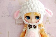 Welcome to ~~Tea For Party~  Hand-knit sheeo hat for 12 Blythe. (Doll clothes and blythe doll are not include)       All orders are shipped via