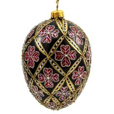 Faberge Inspired- Jeweled Egg Glass Ornament - Four Leaf Clover Red on Black -- Awesome products selected by Anna Churchill