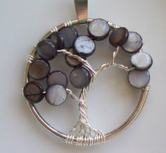 """Handmade Tree of Life Pendant Gray Grey River Shell Wire Wrapped Silver 1 25"""" 