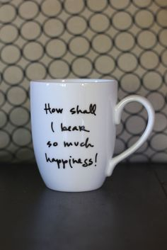 Happiness Mug  Jane Austen by Brookish on Etsy, $16.00